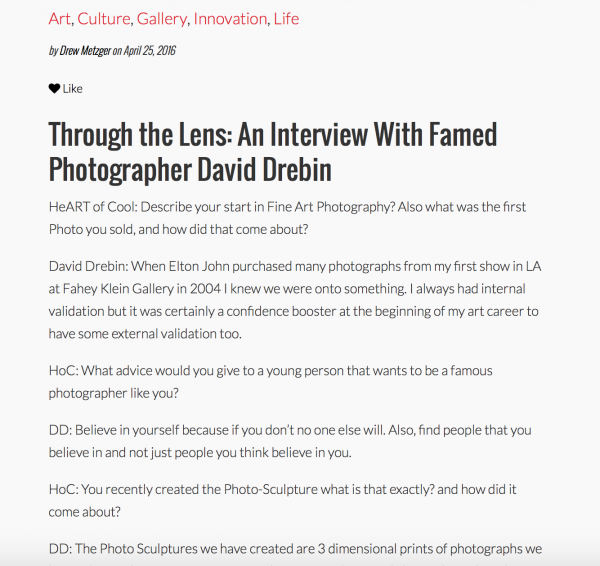 Through the Lens: An Interview With Famed Photographer David DREBIN on Heart of Cool