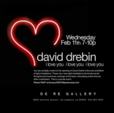 david Drebin's NEON LIGHT INTALLATION EXHIBITION AT DERE GALLERY IN LOS ANGELES
