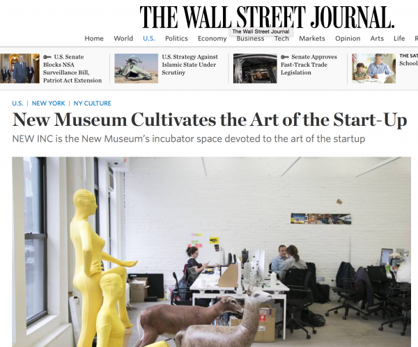New Museum Carlo Van de Roer and SATELLITE LAB in WSJ