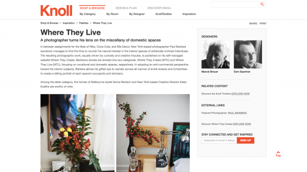 Feature: Paul BARBERA / Where They Create  featured  by KNOLL as inspiration
